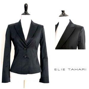 Elie Tahari Black Slim Fit Cotton Stretch Blazer